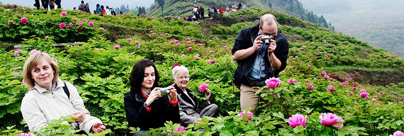 Visitors take pictures of spring blossom in Dianjiang