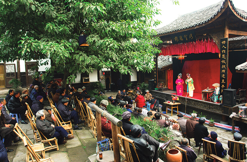 Traditional Sichuan Opera stage in Ciqikou